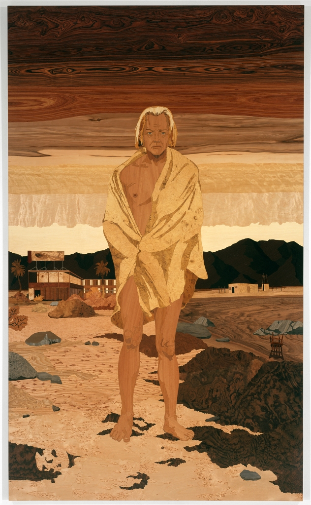 Bombay Beach, 2008, marquetry: wood veneer and shellac, 96 x 58 inches