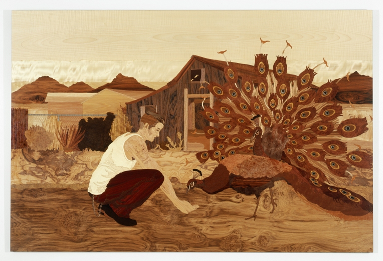 Era of Argus, 2007, marquetry: wood veneer, pyrography and shellac, 47 x 70 inches