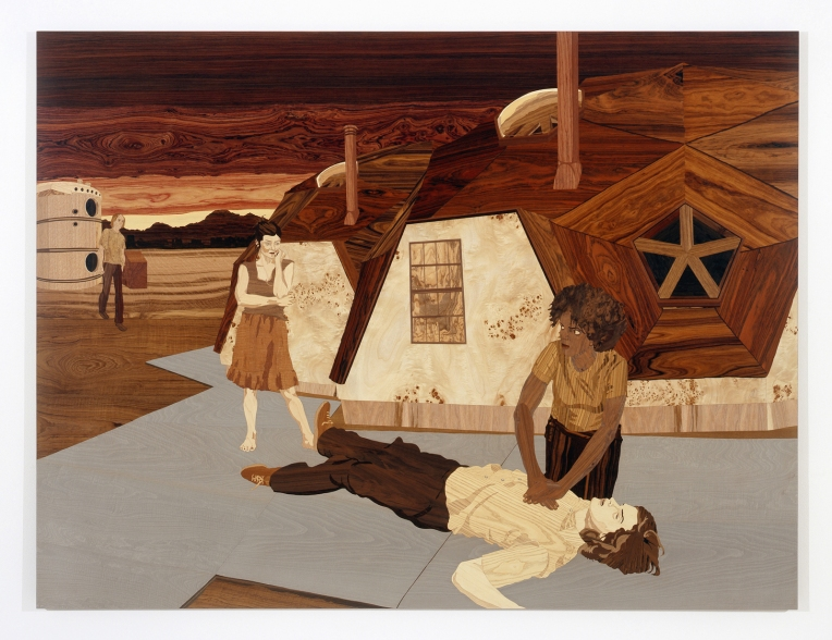 Fucminster Buller, 2008, marquetry: wood veneer and lacquer, 72 x 96 inches