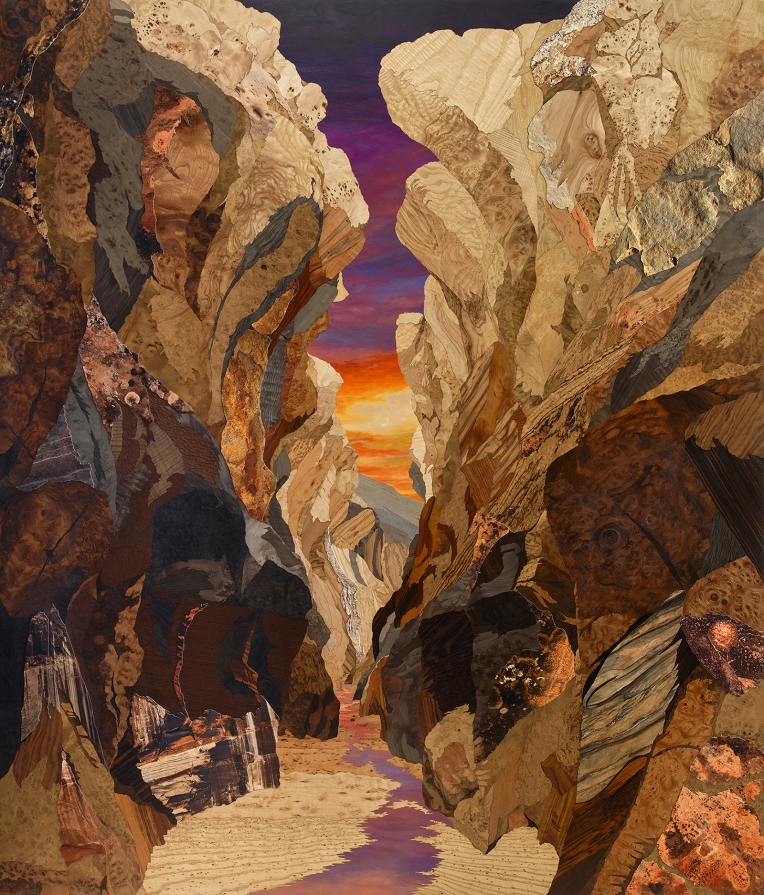 GSENM: Slot Canyon No.1, 2018, marquetry hybrid on panel, 69 x 59 inches