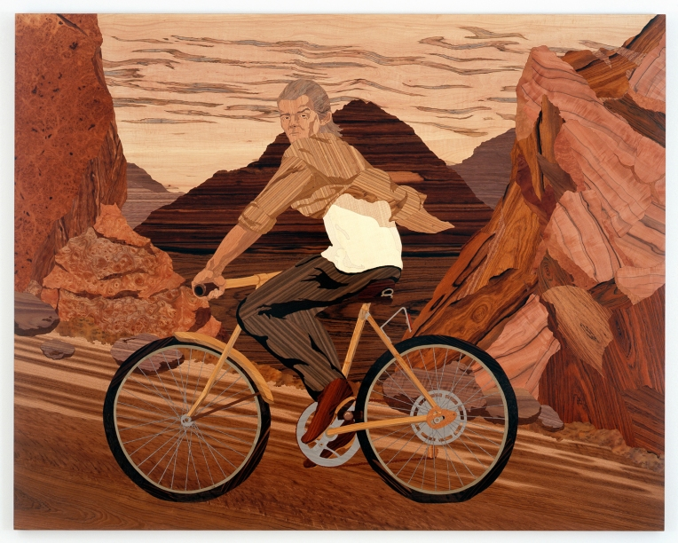 Hank, 2007, marquetry: wood veneer and shellac, 57 x 72 inches