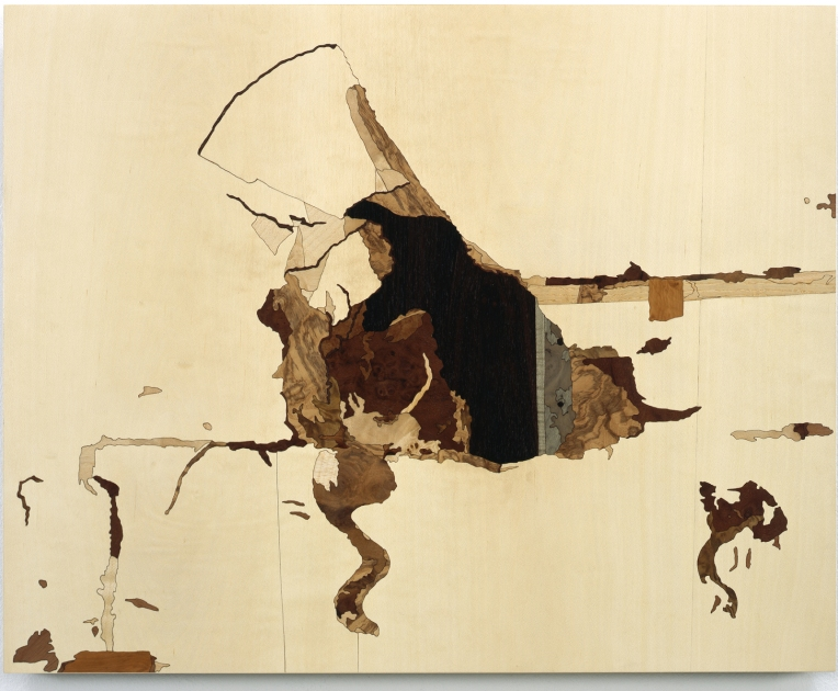 Hole Kicked, 2009, marquetry: wood veneer and shellac, 15 x 19 inches