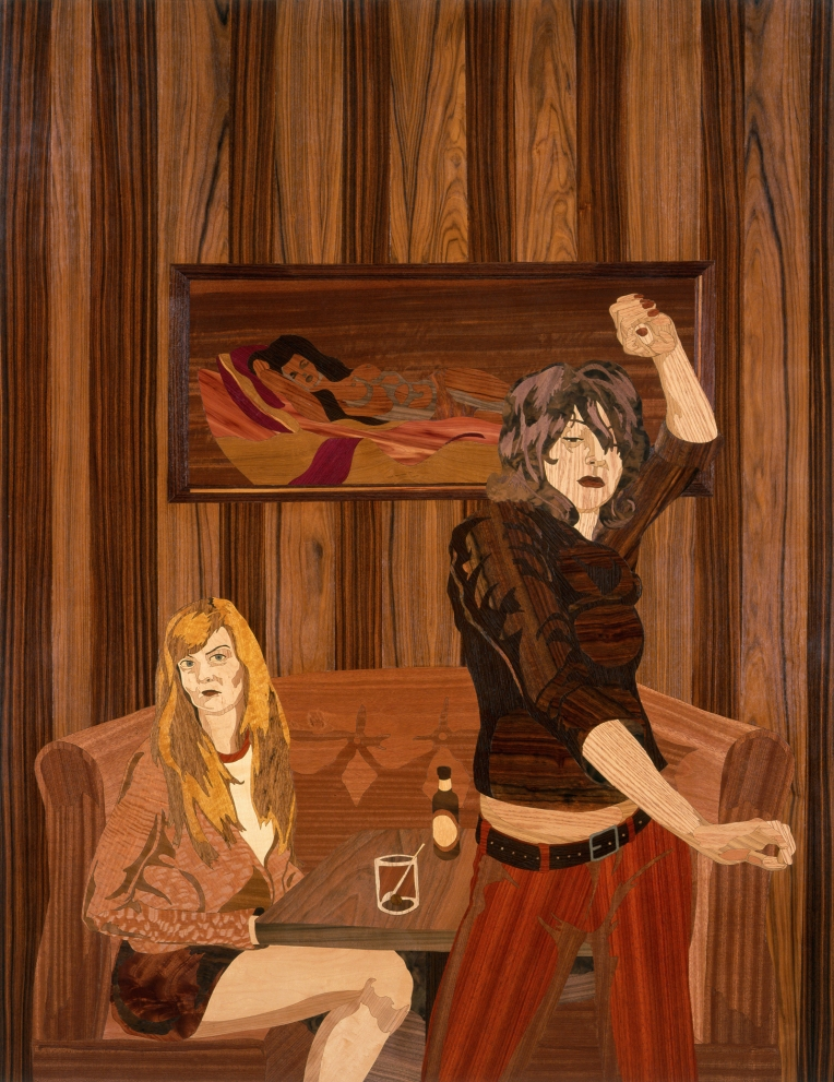 Jumbo's, 2006, marquetry: wood veneer and shellac, 46 x 60 inches