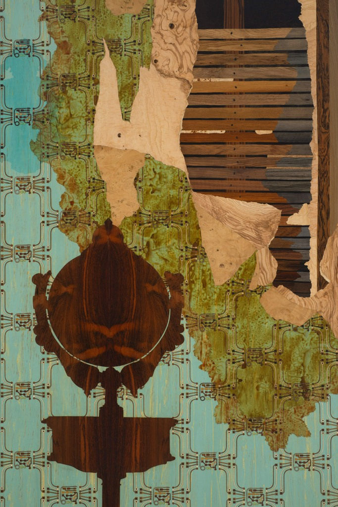 Reclamation (detail), 2014-2017, marquetry hybrid, 24' x 13' x 9' (three walls and ceiling)