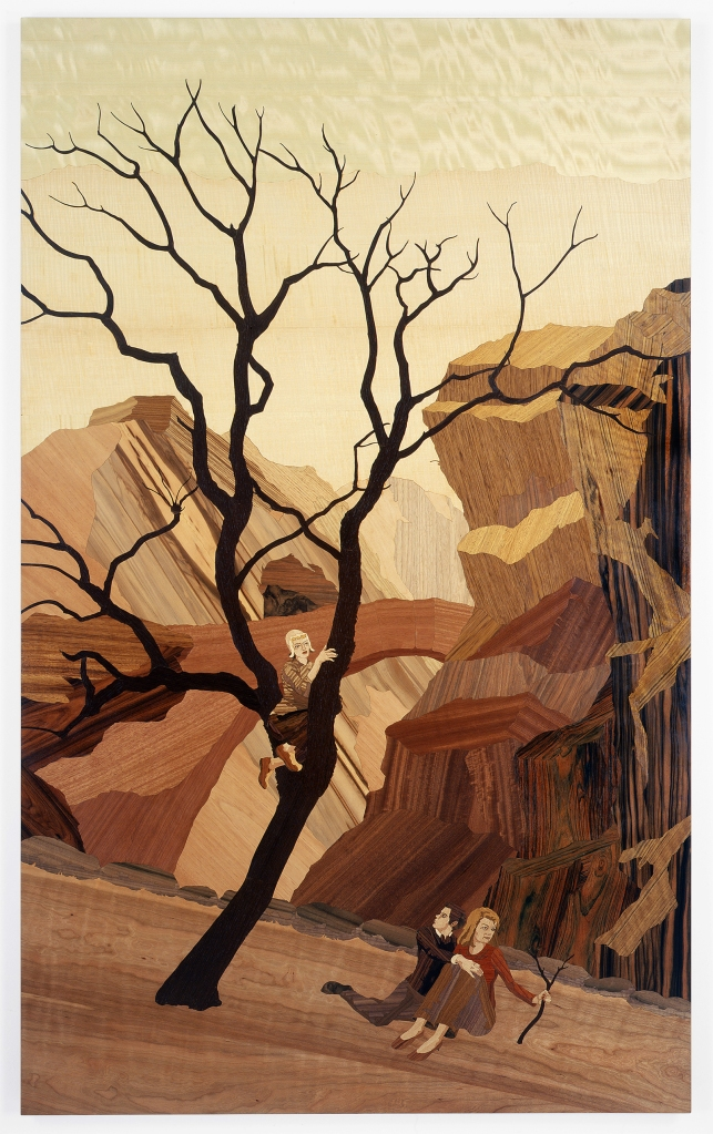 Redrock, 2006, marquetry: wood veneer and shellac, 77 x 47 inches