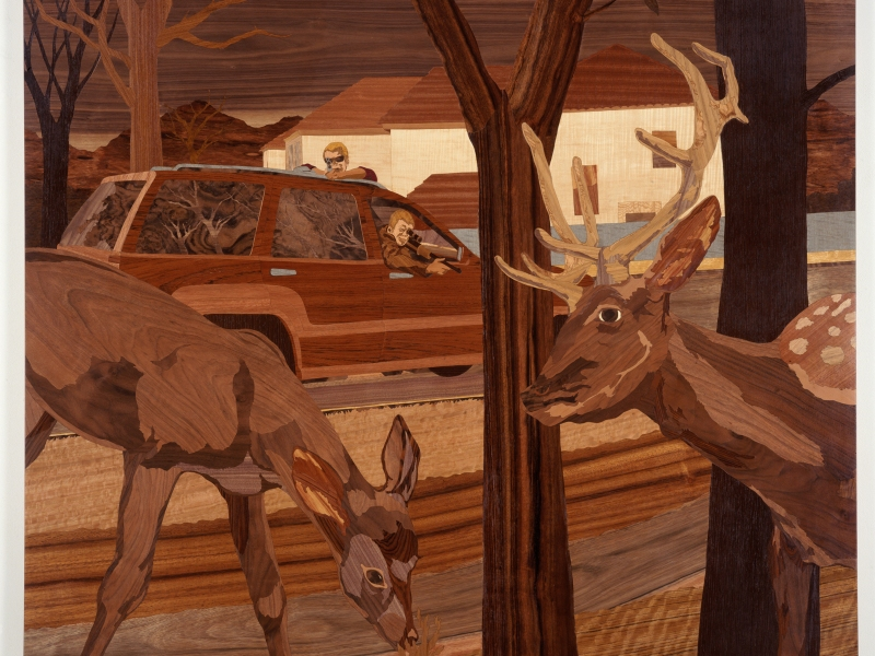 Roadside, 2006, marquetry: wood veneer and shellac, 47 x 56 inches