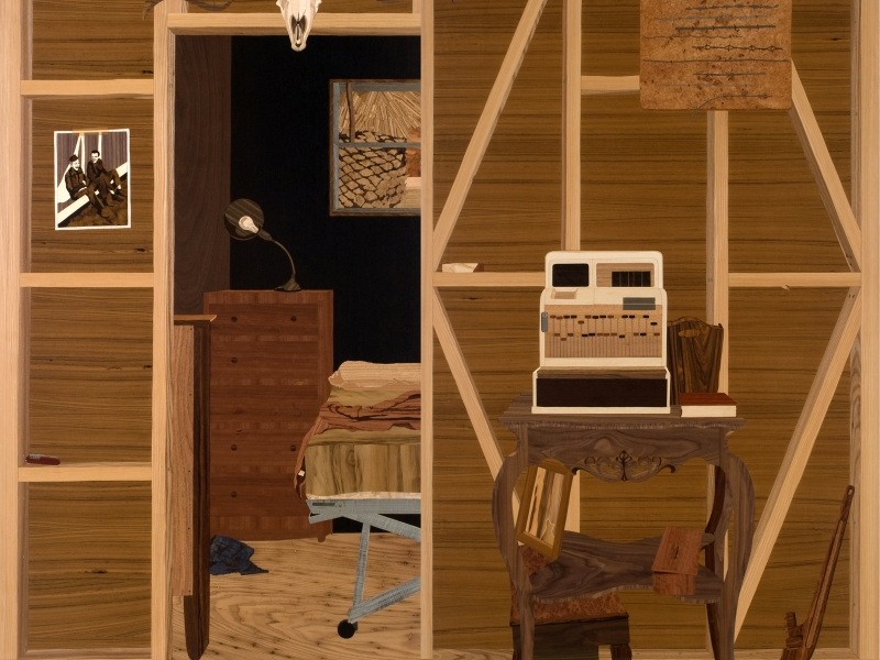 Room (detail, interior of installation), 2008, marquetry: wood veneer, pyrography, lacquer, 96 x 120 x 96 inches