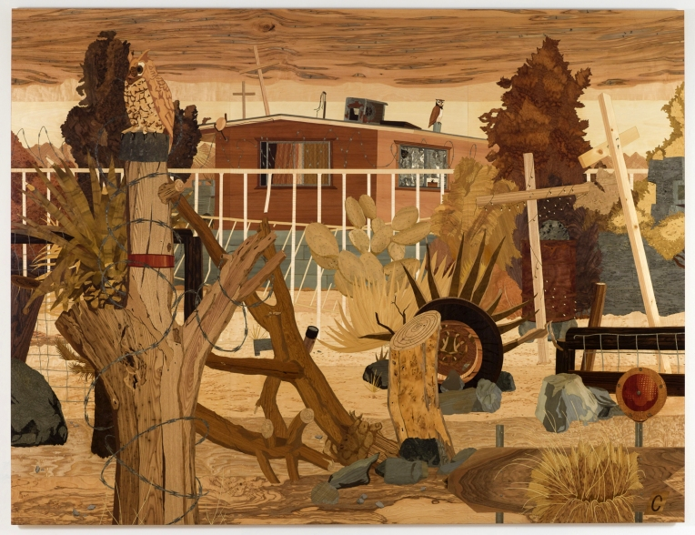 Security House, 2010 marquetry: wood veneer and shellac 93 x 120 inches