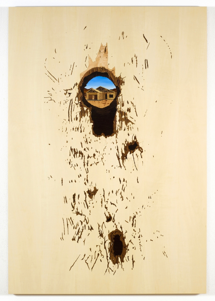 Shotgun Hole with Additional Vandalism, 2010, marquetry hybrid, 57 x 37 inches