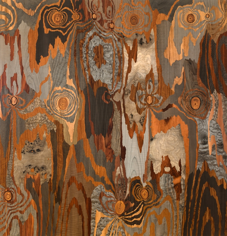 Silver Fox, 2013, marquetry: wood veneer and shellac, 53 x 51 inches