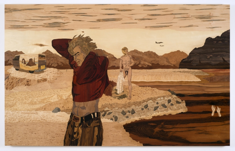 Slab City (ambrosia maple version), 2007, marquetry: wood veneer and shellac, 47 x 77 inches