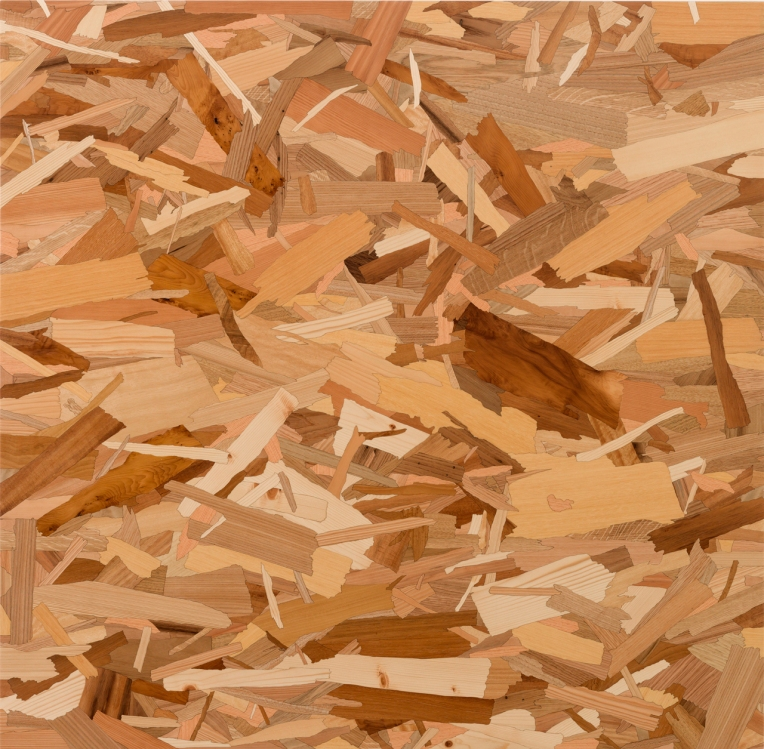 South 7th, 2014, marquetry: wood veneer and shellac, 47 x 47 inches