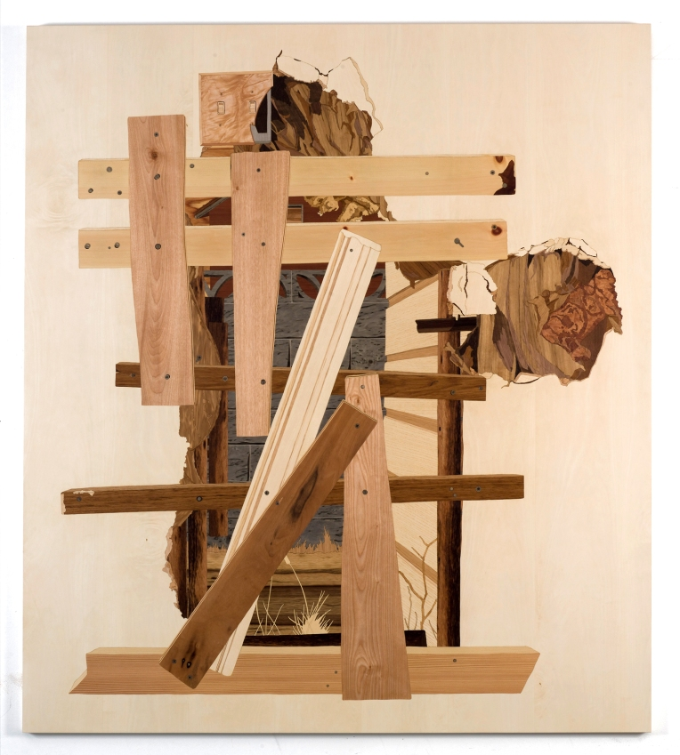 Squatter Doorway, 2009, marquetry: wood veneer and shellac, 53 x 47 inches