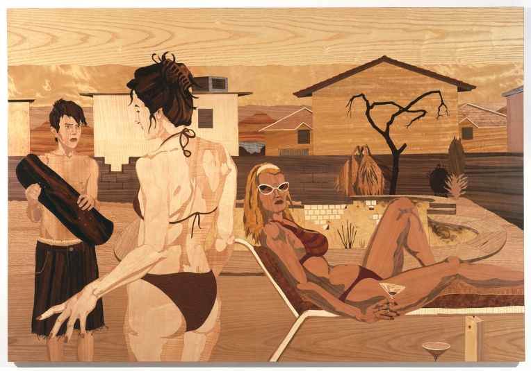Swimming Pool, 2006, marquetry: wood veneer and shellac, 47 x 70 inches