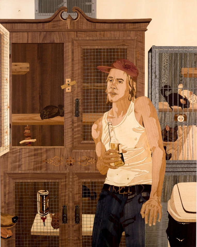 The Breeder, 2010, marquetry: wood veneer and shellac, 56 x 45 inches