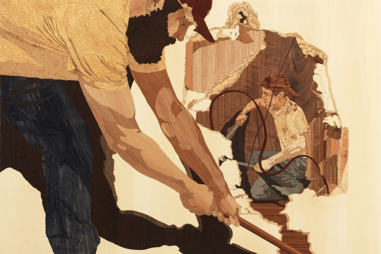 The Gleaners, 2011 marquetry: wood veneer and shellac, 34 x 51 inches