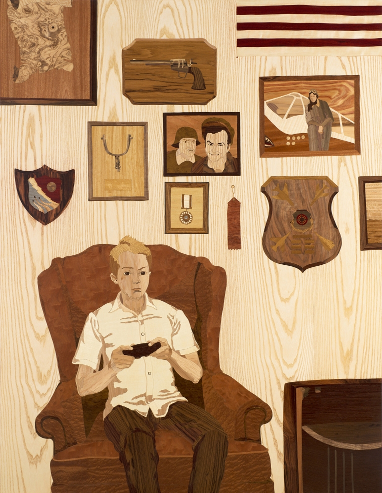 The Good War, 2006, marquetry: wood veneer and shellac, 60 x 46 inches