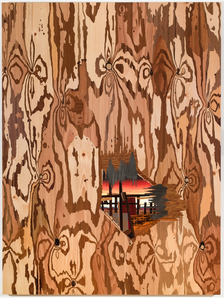 The Optimist's Ennui, 2013, marquetry hybrid, 62 x 47 inches