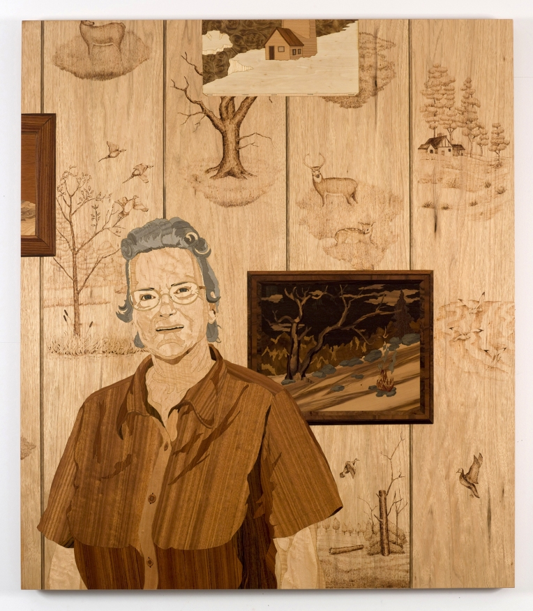 The Pyrographist, 2009, marquetry: wood veneer, pyrography, shellac, 46 x 40 inches