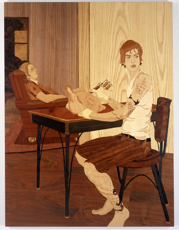 The Tattooist, 2008, marquetry: wood veneer and shellac, 54 x 41 inches