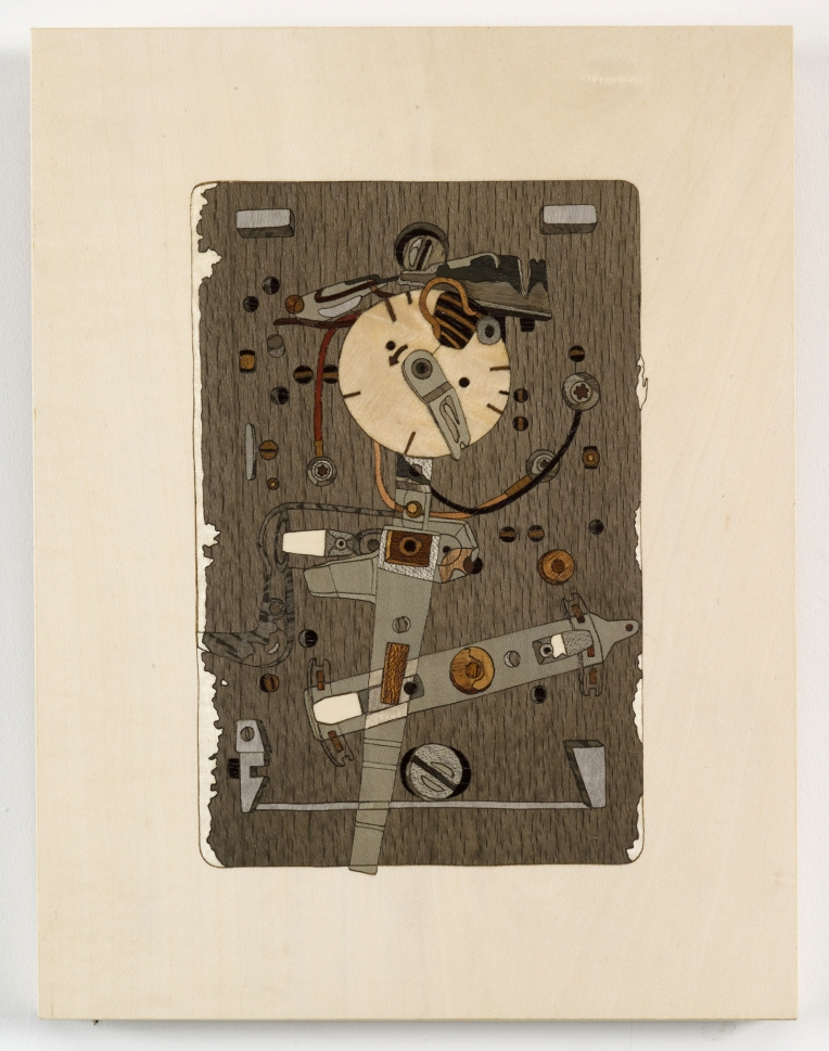 Thermostat, 2009, marquetry: wood veneer and shellac, 10 x 7 inches