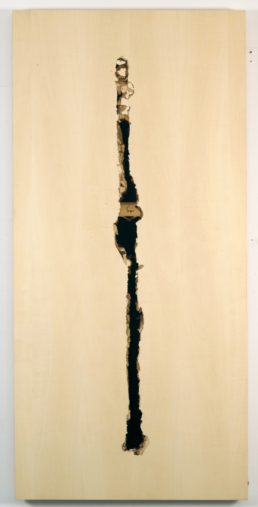 Wires Ripped, 2010, marquetry: wood veneer and shellac, 61 x 29 inches