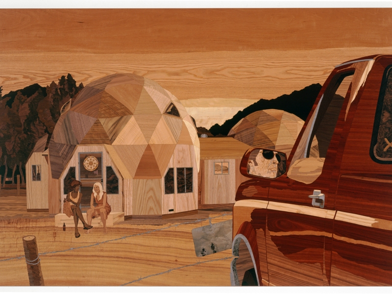 Wonder Valley, 2008, marquetry: wood veneer and shellac, 47 x 70 inches
